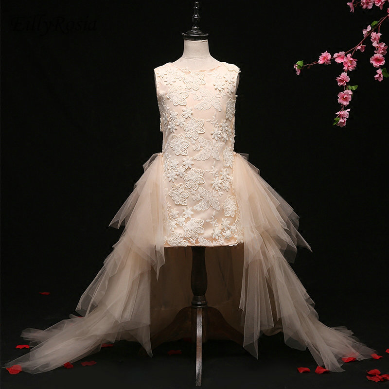 Light Champagne Flower Girl Dresses for Wedding Party Lace Appliques Satin Tulle Detachable Train Elegant Girls Party Prom Gowns