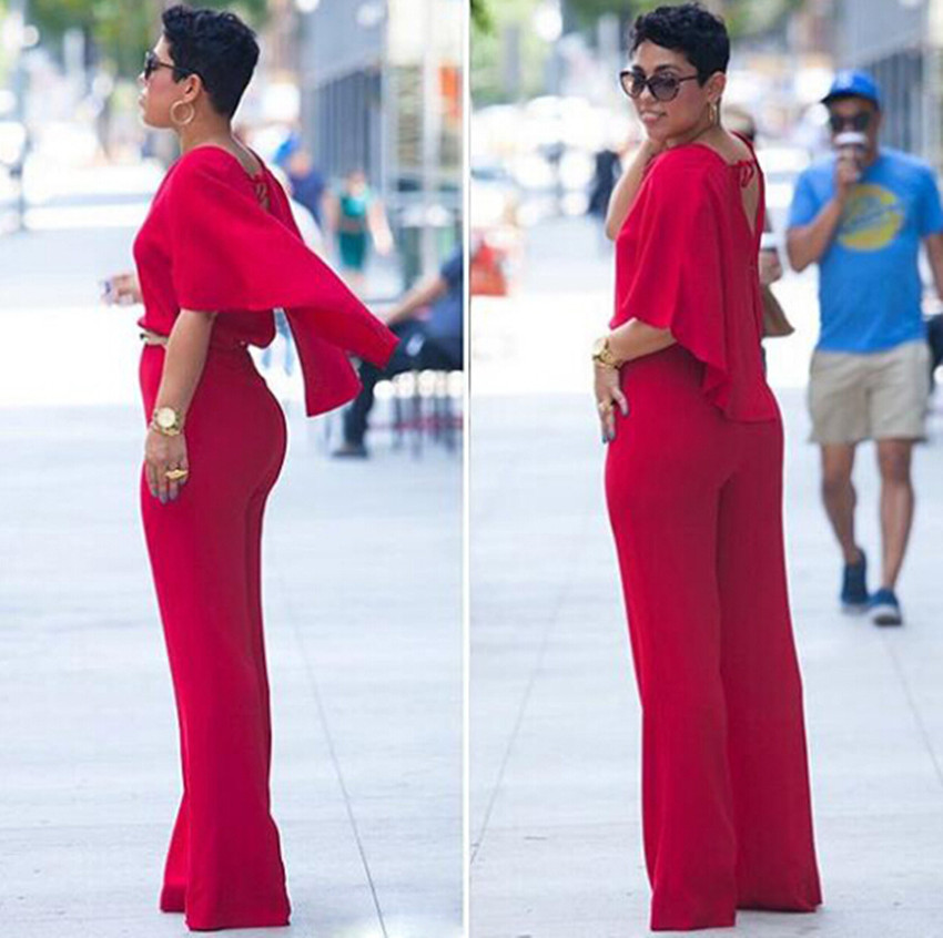Online Shop Sexy Deep V Neck Backless Red Jumpsuit Women New Plus ...