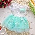 2015 Nueva Moda de Verano Hierba vestido de Encaje de Los Niños ropa de Bebé Niña Vestido de manga Corta Vestidos de flores ropa de las muchachas