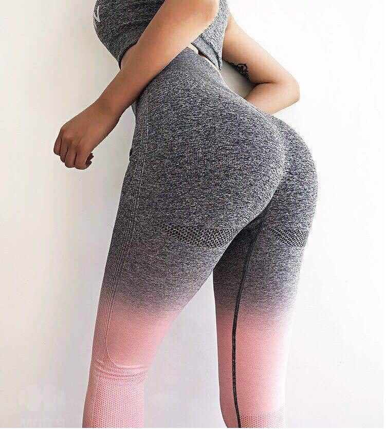 Collants Mulher Corrida Esportes Fitness Stretch Gradiente