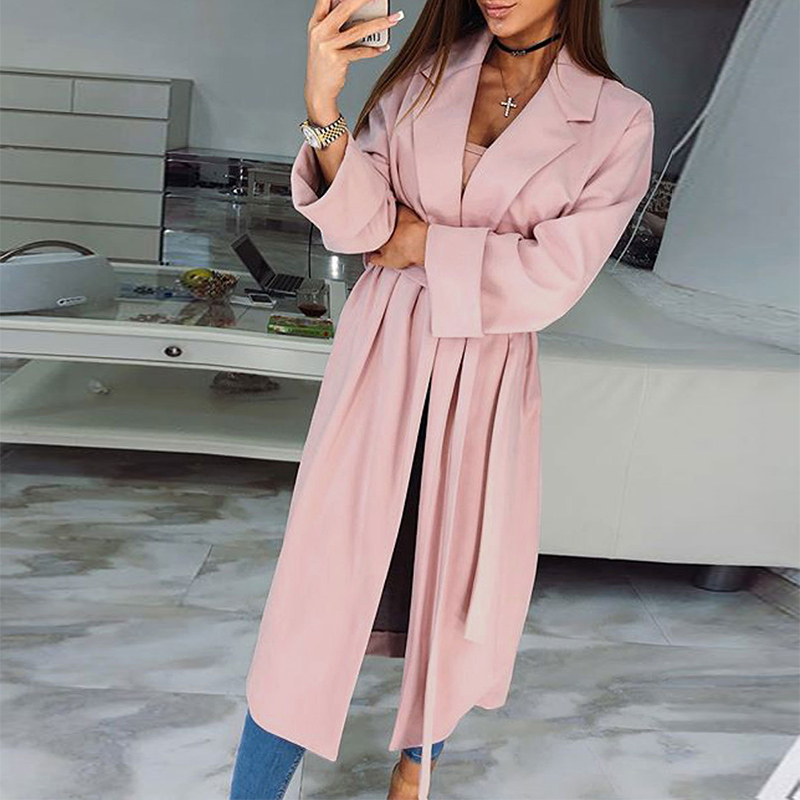 2018 Women Autumn Open Front   Trench   Coat Female Casual Lapel Belted Thin Windbreaker Elegant Solid Cardigan Long Outerwear