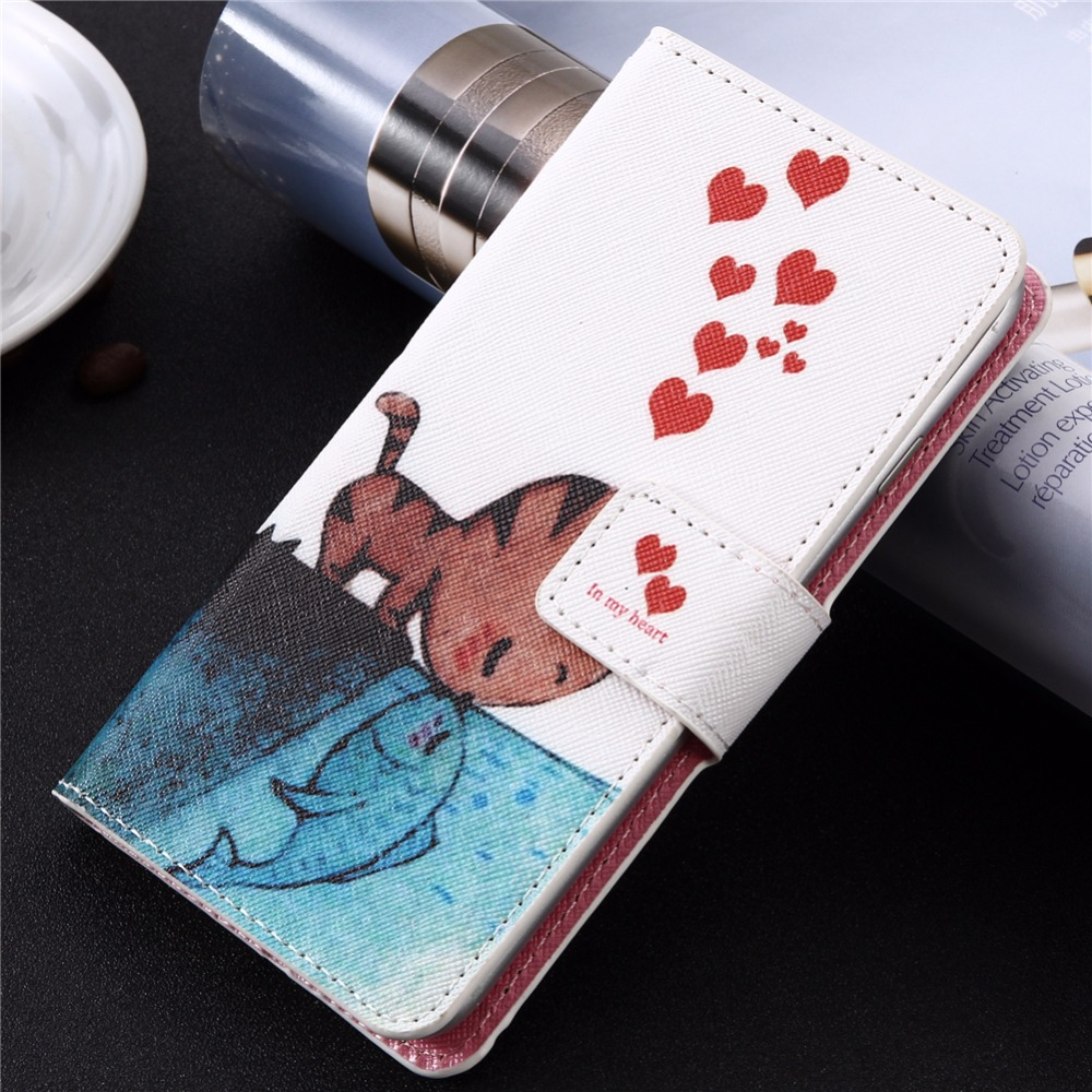 GUCOON Cartoon Wallet Case for Oysters Atlantic 4G 4.5 Fashion PU Leather Lovely Cool Cover Cellphone Bag Shield