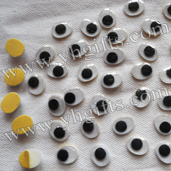 1000PCS/LOT,1x0.8cm oval eyes with self-adhesive stickers,Eye stickers,Plastic wiggle eyes,Doll eyes,Craft accessories.Wholesale