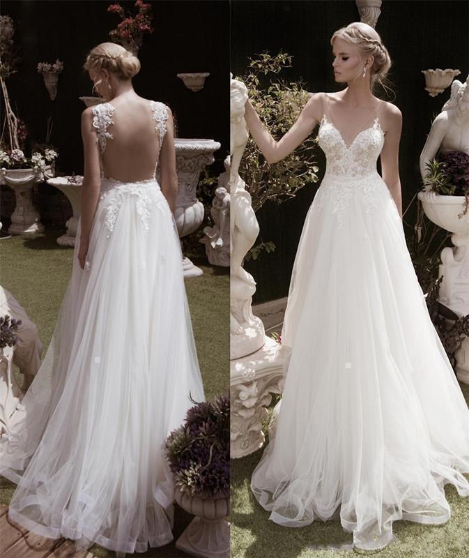Elegant A Line V Neck Sleeveless Wedding Dresses White Ivory Vestido