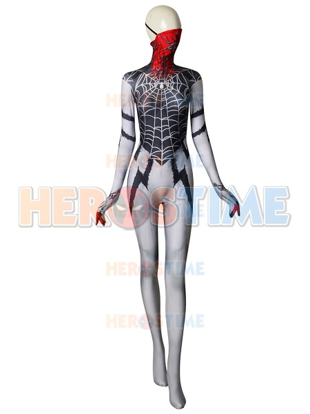 Spiderman Symbiote Silk Cosplay Costume 3d Printed Spider-girl Silk Costume With Half Mask Superhero Zentai suit for Adult/kids