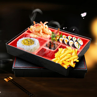 Japanese Bento Lunch Box ABS Plastic Wood Grain Food Container With Lid High Quality Sushi Box Business Dining Box Free Shipping