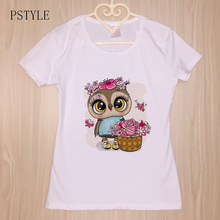 Summer Short Sleeve T shirt For Womens The Kawaii Owl Girls With Flowers Print Funny Tees Shirt Cartoon Cute Design White Top