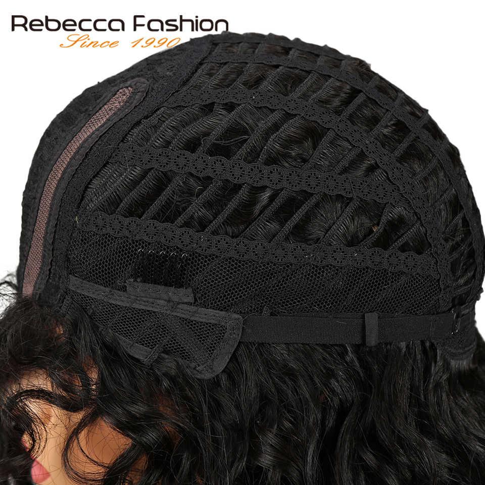 Rebecca luźne kręcone fala ludzkich włosów koronki peruki dla czarnych kobiet L część peruwiański Remy luźne kręcone koronki peruka 14 Cal darmowa wysyłka