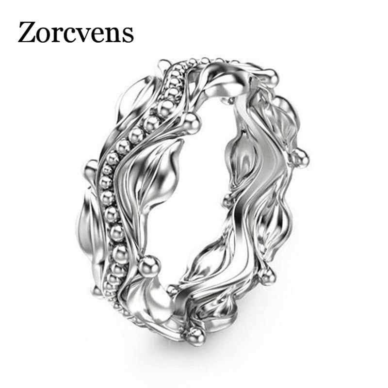 ZORCVENS Silver Color Beads Flowers Finger Rings For Women Middle Ring Fashion Jewelry Wholesale Dropshipping