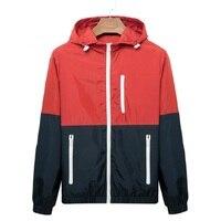 Windbreaker Men Casual Spring Autumn Lightweight Jacket 2019 New Arrival Hooded Contrast Color Zipper up Jackets Outwear Cheap Jackets