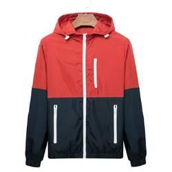 Ветровка для мужчин повседневное демисезонный легкая куртка 2019 новое поступление с капюшоном с молнией контрастного цвета до куртки