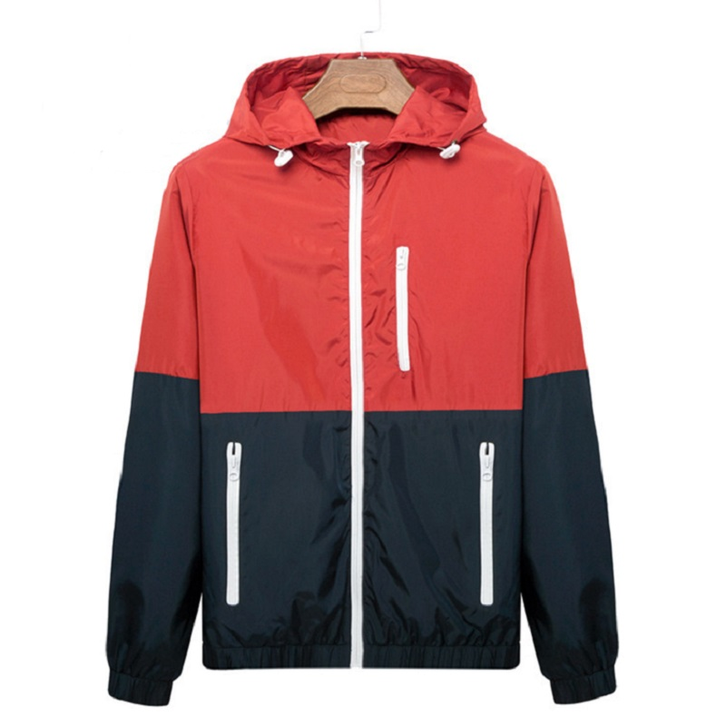 Windbreaker Men Casual Spring Autumn Lightweight Jacket 2020 New Arrival Hooded Contrast Color Zipper Up Jackets Outwear Cheap