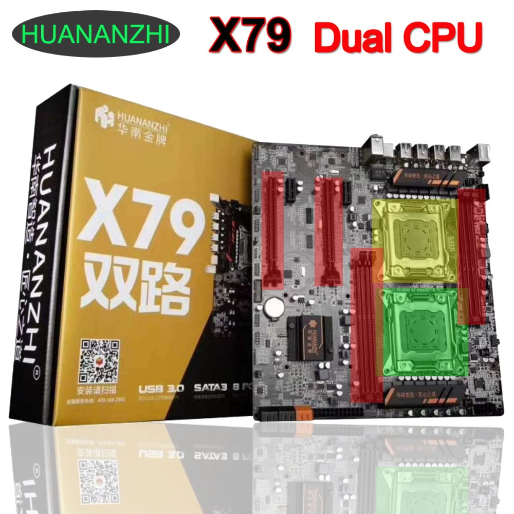 Buy best motherboard HUANAN ZHI dual CPU X79 motherboard with dual CPU slots support 4*32G DDR3 1866MHz memory 6 SATA ports