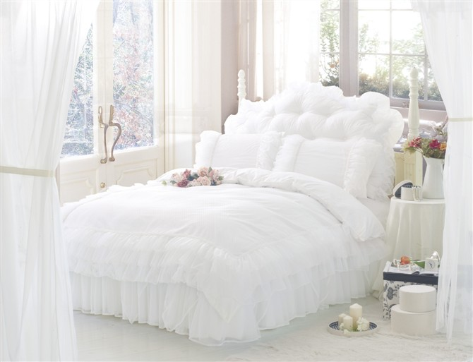 Korean Style Princess Lace Bedding Sets 100% Cotton Queen