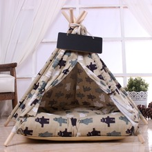 Solid wood pole dog tent with cushion pet comfortable cotton kennel cute detachable and easy to clean