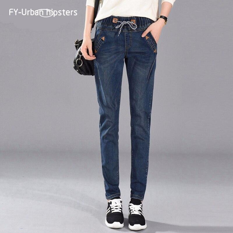 2018 Estate Casual Jeans Per Le Donne Jeans Con Pantaloni A Vita Alta Harem Pantaloni Delle Signore Strappato Damen Jeans Blu 5xl Allentato Fidanzato Dei Jeans Buono Per L'Energia E La Milza