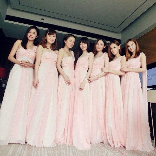One Shoulder Long Blush Pink Bridesmaid Dresses A-Line Chiffon Wedding  Party Dress  91f3ac585