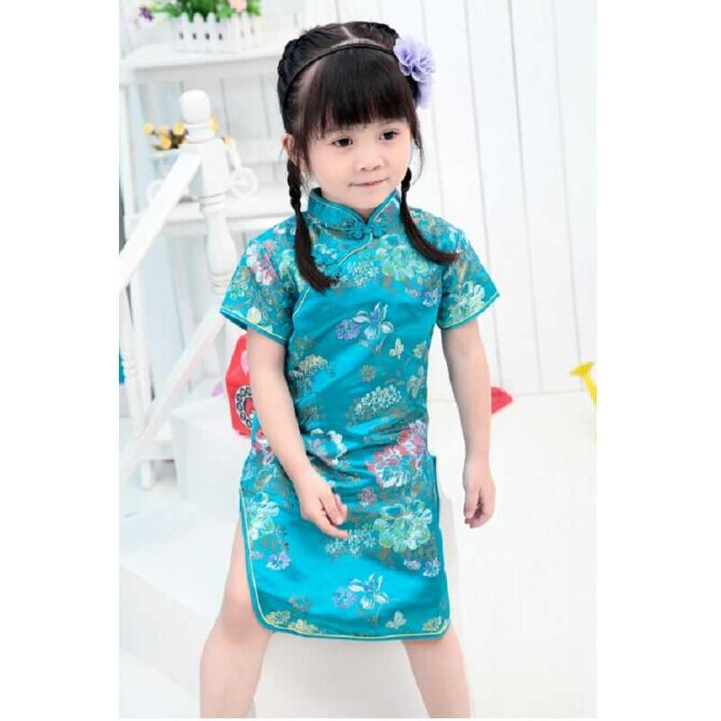 2017真新しい中国袍ドレス用女の子半袖ウェディングドレストップ品質子供夏の服