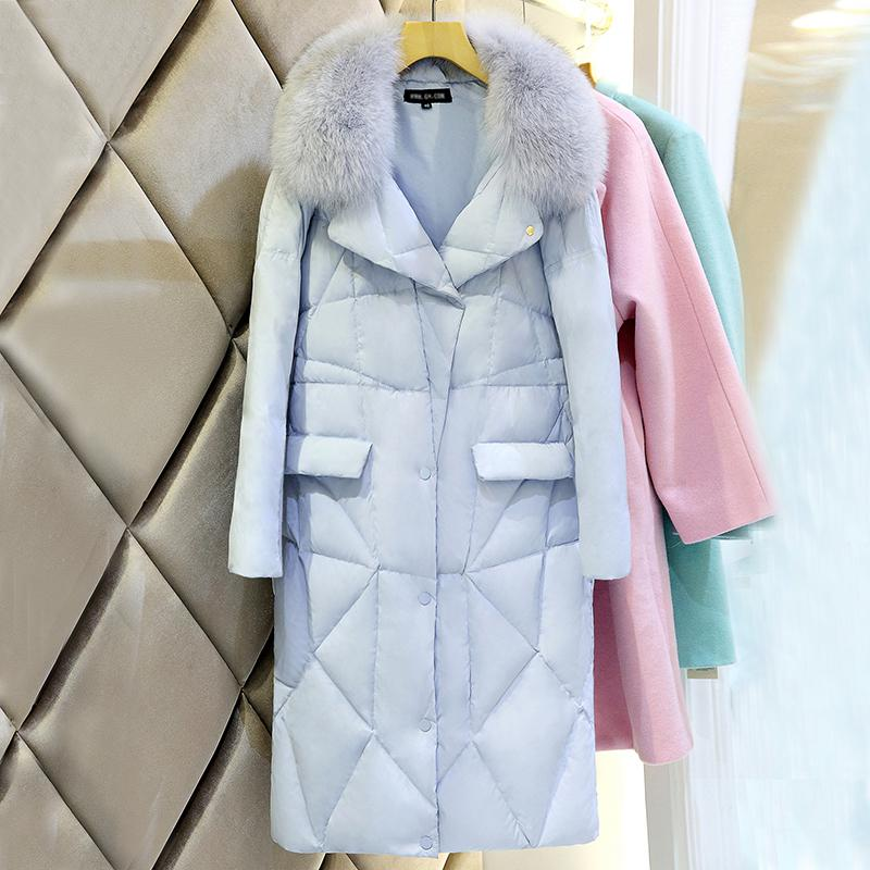 Female long section Slim Down Nagymaros collar white duck down big yards thick knee length coat 2017 winter women jacket new fashion thick warm medium long down cotton coat long sleeve slim big yards female parkas ladies269