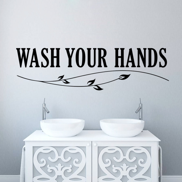 wash your hands bathroom mom reminder wall stickers wall quote waterproof art vinyl decal bathroom wall
