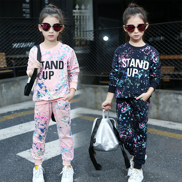 9a644c2e05e67 Printemps fille vêtements ensembles lettre t-shirts + Graffiti pantalon enfants  vêtements ensemble 5-