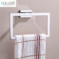 BULUXE Brass Bathroom Accessories Towel Rack Holder Ring Chrome Finished Wall Mounted Bath Acessorios de banheiro HP7757