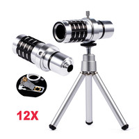 High Quality 12x Zoom Optical Telescope Camera Telephoto Lens With Mobile Tripod Phone Camera Lenses For