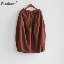 Runback 2019 Fall Skirt Baggy Cotton Linen Jupe Retro Loose Waist Pure Color Cotton Linen Mid Calf Bud Skirts Midi Skirt