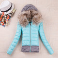 Slim cotton padded jacket fur knit hooded winter parka,women outerwear coat,womens winter jackets and coats parka TT900