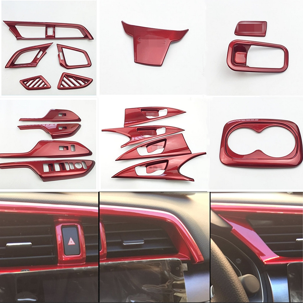 Red Colors Car Interior Full Mouldings Trim Sticker Car Covers Car Accessories For Honda Civic 2016-2018 10th Gen Car-Styling for mazda cx 5 cx5 2nd gen 2017 2018 interior custom car styling waterproof full set trunk cargo liner mats tray protector