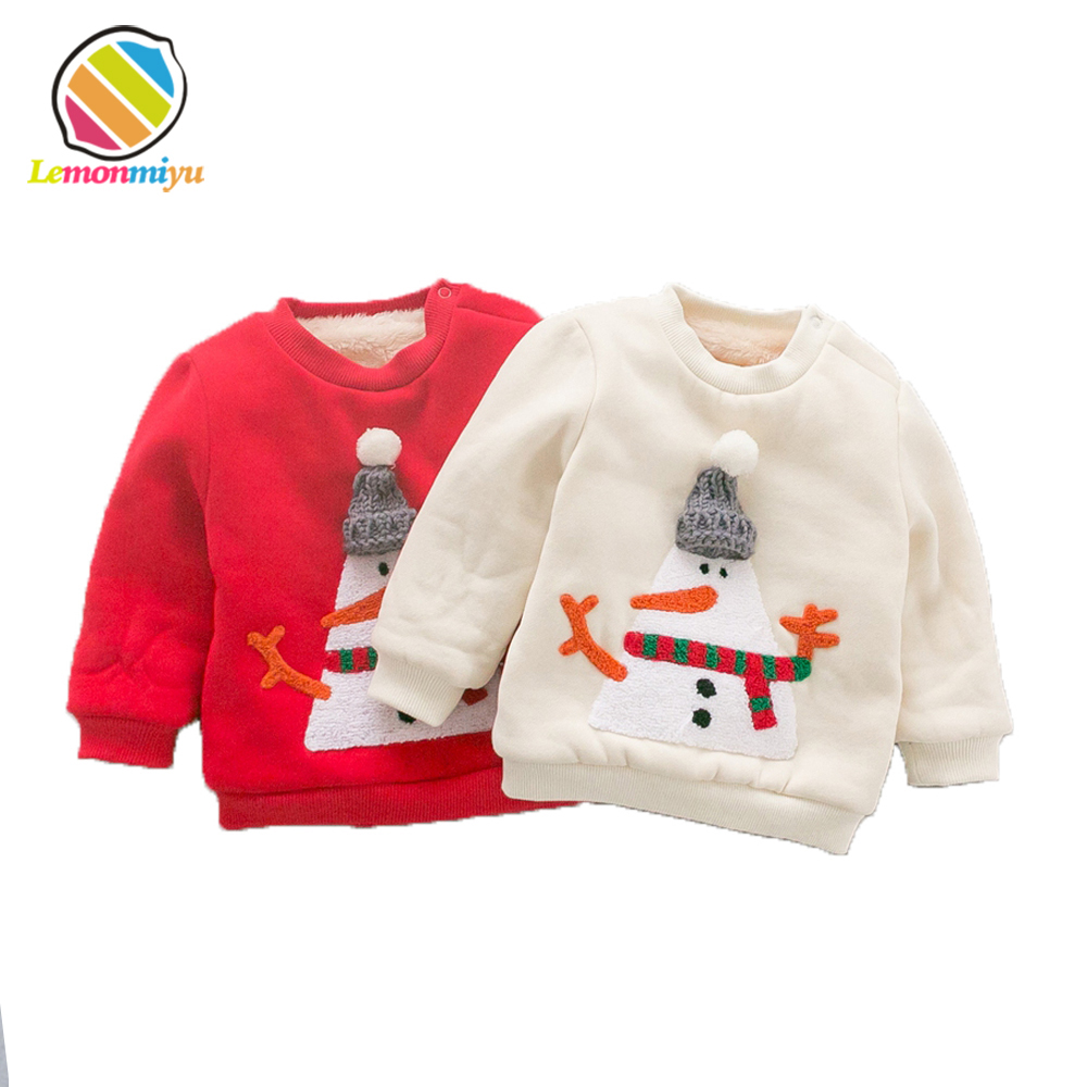 Christmas Dear Party Baby Boys Sweaters Winter Warm Cotton Padded Jackets for Girls Embroidery Fur Velvet Pullover Coats Clothes