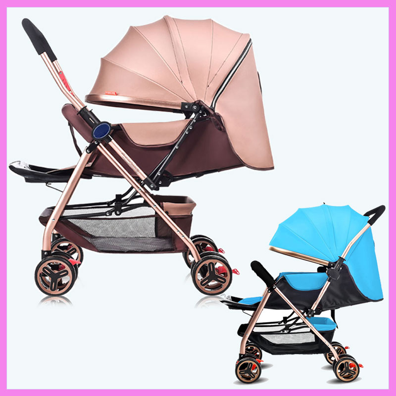 Ultra Light Four-wheel Baby Cart Folding Bidirectional Push Handle Can Sit Lie Newborn Baby Carriage Portable Stroller Pram 0~3Y aoxin new children s karting four wheel exercise can sit baby pneumatic tires exercise bike
