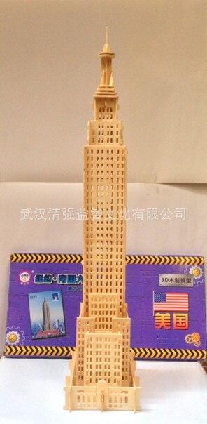 1 pz/lotto Costruzione Puzzle Giocattoli 20 Stili 3D Giocattoli di Legno Torre Eiffel/Big Ben/London Bridge/Empire costruzione Educazione Giocattolo Per Bambini