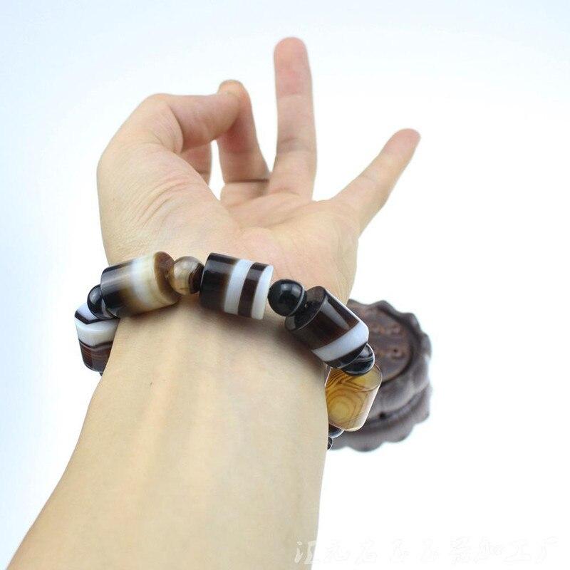 Natural Brazil Sardonyx Barrel Bead Bracelet Men Bracelet Passepartout Beads Agate 14mm Barrel Bead Bracelets  Jade Jewelry
