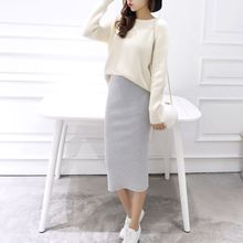 Women Winter High Waist Hip Split Rib Knit Midi Pencil Skirt Bodycon Solid Color chic high waist solid color over hip skirt for women