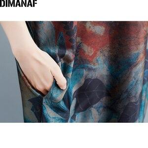 Image 5 - DIMANAF Plus Größe Frauen Kleid Vintage Große Größe Weibliche Vestido Sommer Sommerkleid Lose Drucken Floral Dame Elegante Lange Kleid 5XL 6XL