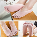 3 Color Summer Silk Five fingers Invisible Breathable Cotton Polyester Boat Socks for Female