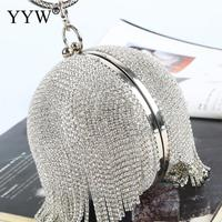 Sliver ball bag clutch Mini Tassels Clutch Diamonds Rhinestone Ring Handbag Clutches Round Ball Evening Bags For Women 2019