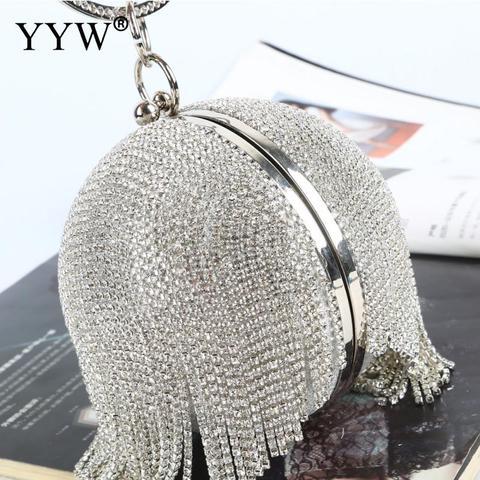 Bolsas de Noite para Mulher Sliver Bola Bolsa Embreagem Mini Borlas Diamantes Strass Anel Embraiagens Redonda 2020