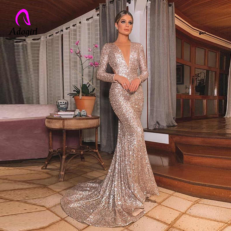 Elegante Lange Rose Gold Pailletten Abend Party Kleid Vestido De Festa Robe Langarm Kleider Formale Party Kleid Reflektierende Kleid