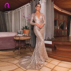Image 1 - エレガントなロングローズゴールドスパンコールイブニングパーティードレス Vestido デ · フェスタローブ長袖ドレスフォーマルパーティードレス反射ドレス