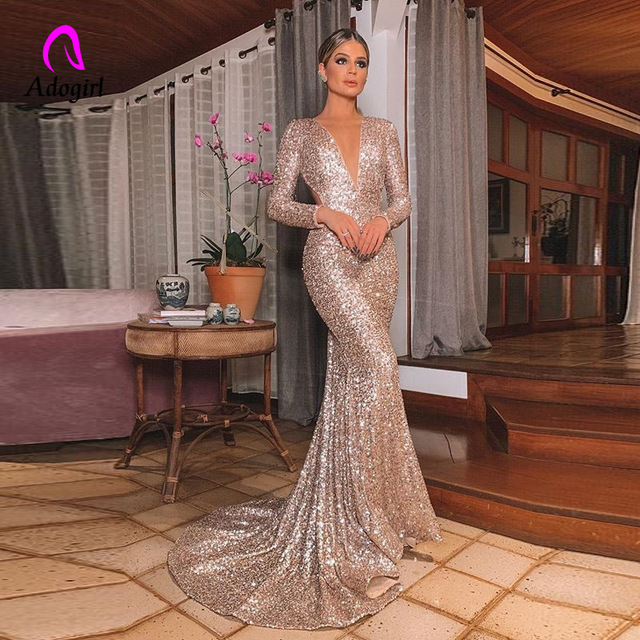 エレガントなロングローズゴールドスパンコールイブニングパーティードレス Vestido デ · フェスタローブ長袖ドレスフォーマルパーティードレス反射ドレス