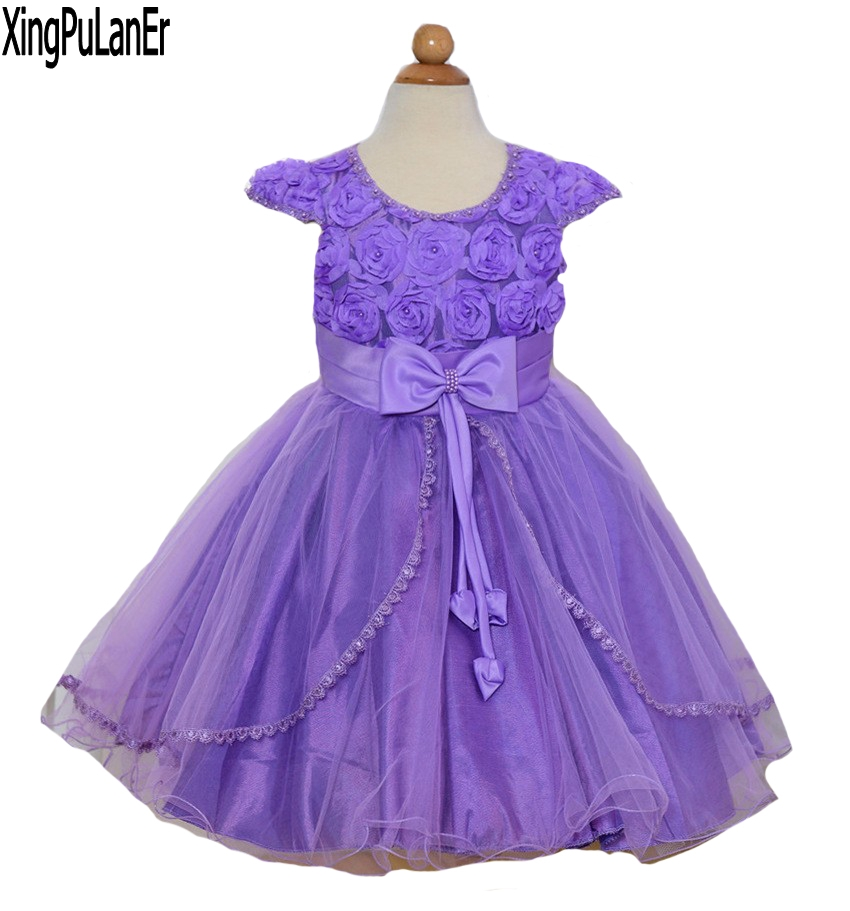 Ball Gown Scoop Neck Short Sleeve Flowers Appliques Beaded Purple White Pink Kids First Communication Dress Flower Girl Dresses