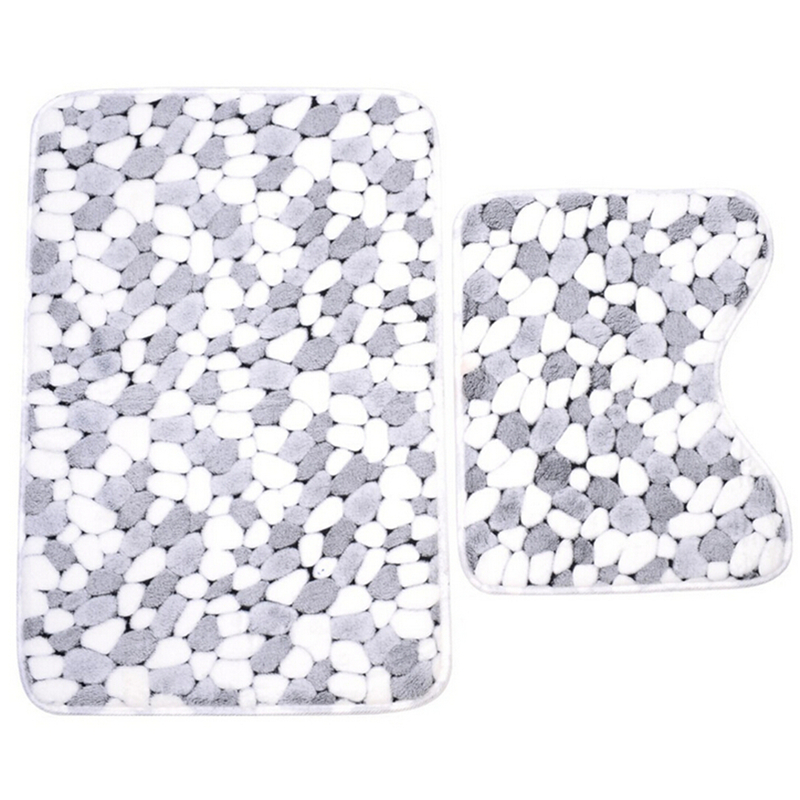2pcs/set Soft Cotton Pebble shape Absorbent Bath Pedestal Mat Toilet Non Slip Floor Rugs Sets Washable Sanitary Ware Suite