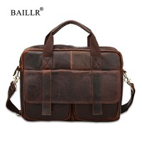 BAILLR Brand Cowhide Men Business Briefcase Luxury Design Cross Body Bag Genuine Leather High Quality Fashion