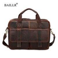 BAILLR Brand Cowhide Men Business Briefcase Luxury Design Cross Body Bag Genuine Leather High Quality Fashion