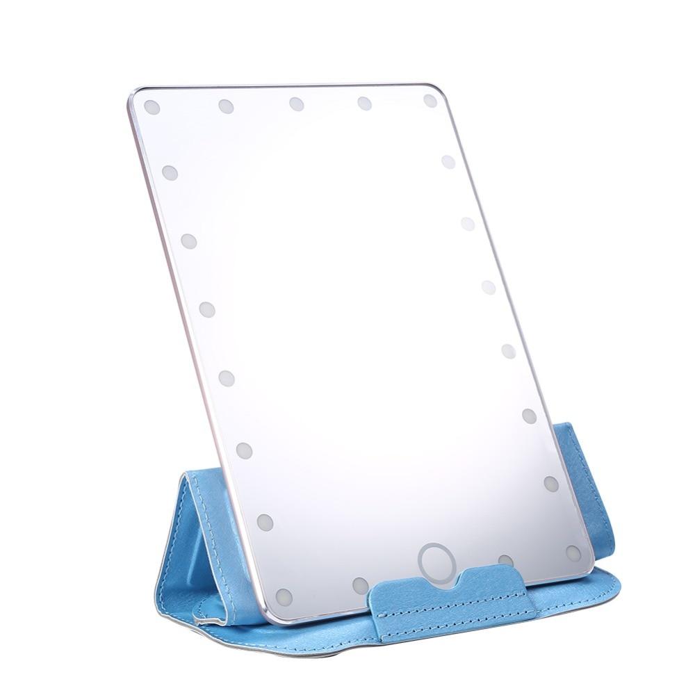 Professional Travel 21PCs LED Touch Screen Makeup Mirror USB Desktop Flat Mirror Cosmetic Lamp Table Mirror + Mirror Cover Set touch screen led makeup mirror light usb