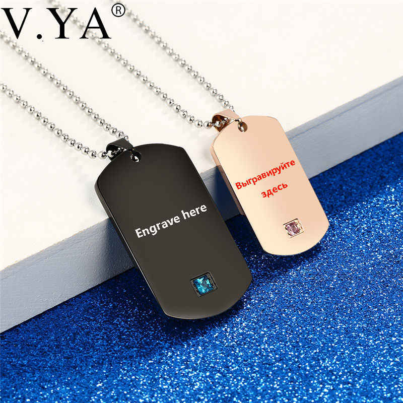 3497cbeb7e V.Ya Dog Tag Military Army Cards Jewelry Laser Custom Name Engraved Logo  For Men