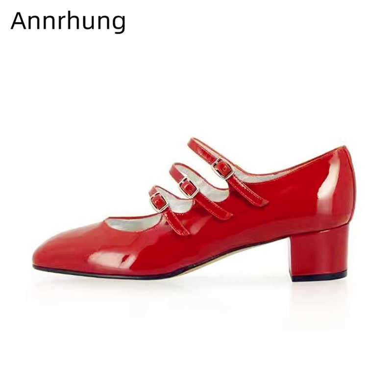 Red Patent Leather Mary Jane Shoes Woman Square Med  Heel Round Toe Shoes Sweet Buckle Decor Pumps Women Zapatos De Mujer