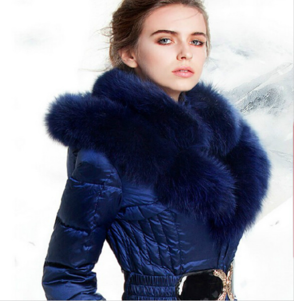2017 Winter Luxury Real Fox Double Fur Collar Womens Parka Long Duck Down British Thick Blue Hood Belt Jacket Female Coat S~4XL